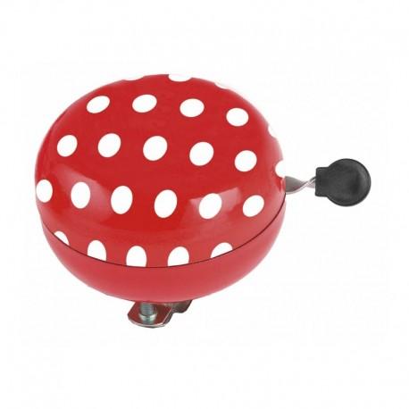 zvonek Ding Dong červený+bílé puntíky