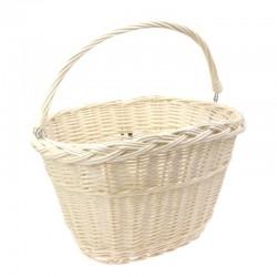 košík na řidítka, proutěný, 34 x 26 cm, oválný, s háky, bílý