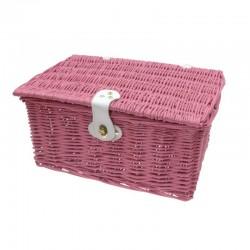 koš na nosič, Mand proutěný, 40 x 28 x 21 cm, růžový
