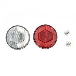 odrazka přední (bílá)+zadní (červená), kulatá, pr. 45 mm