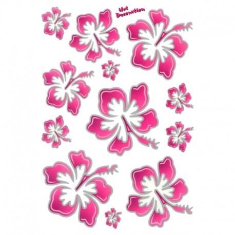 samolepka na kolo - rámový polep Flowers Hawaiian Pink large