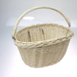 košík na řidítka, proutěný, 34 x 26 cm, oválný, s háky, bílý-bazar