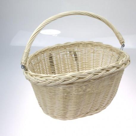 koš na řidítka, proutěný, oválný, s háky, 34 x 26 cm, bílý-bazar