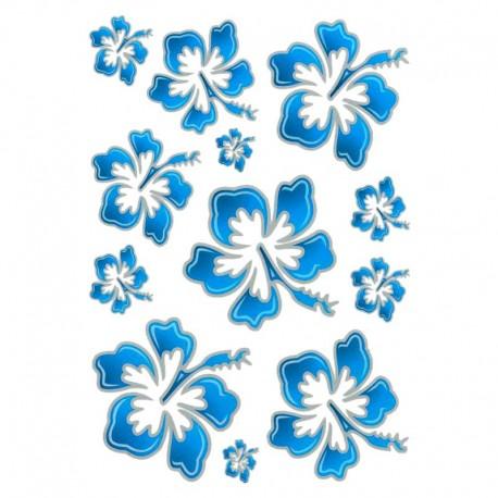 samolepka na kolo-rámový polep Flowers Hawaiian Blue large