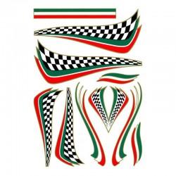 samolepka na kolo-rámový polep Flag Checkered Italian